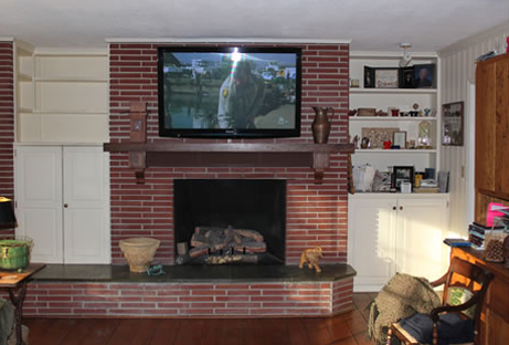 55in Panasonic Plasma TV on a solid brick fireplace